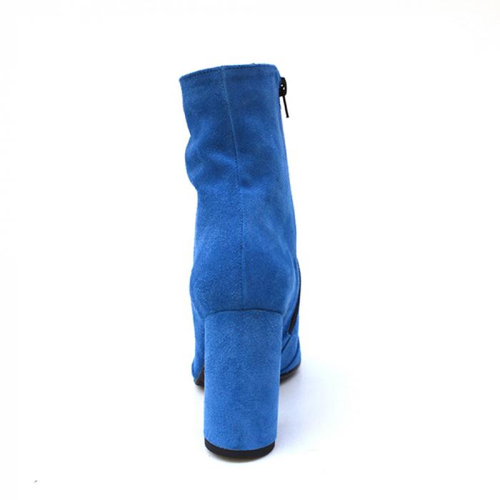Botine albastre cu toc cilindric din piele naturala 5