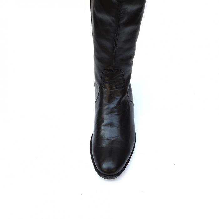 Cizme negre lungi cu talpa joasa din piele naturala Amalia 3