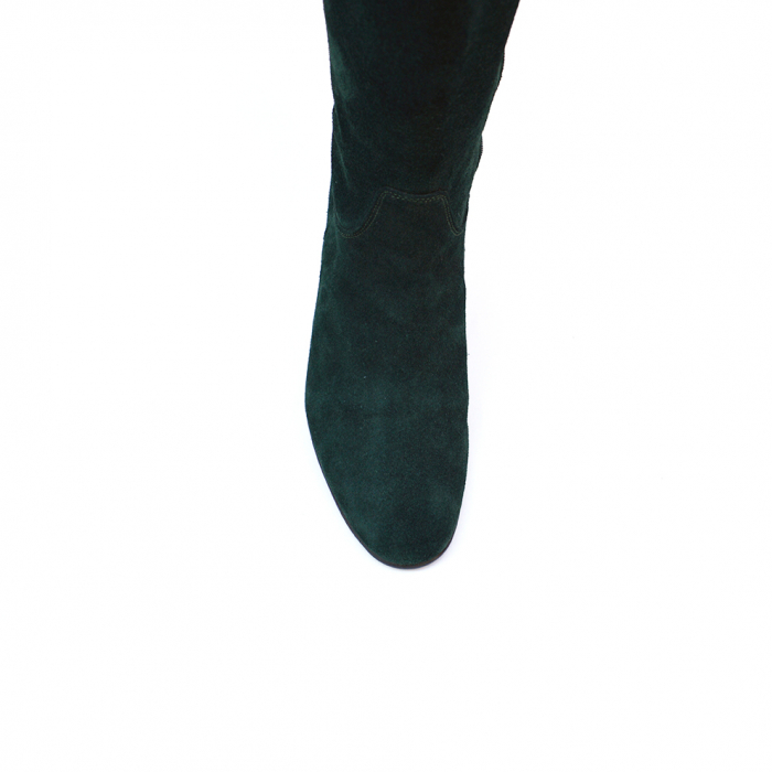Cizme negre lungi din piele intoarsa cu toc mic gros 3