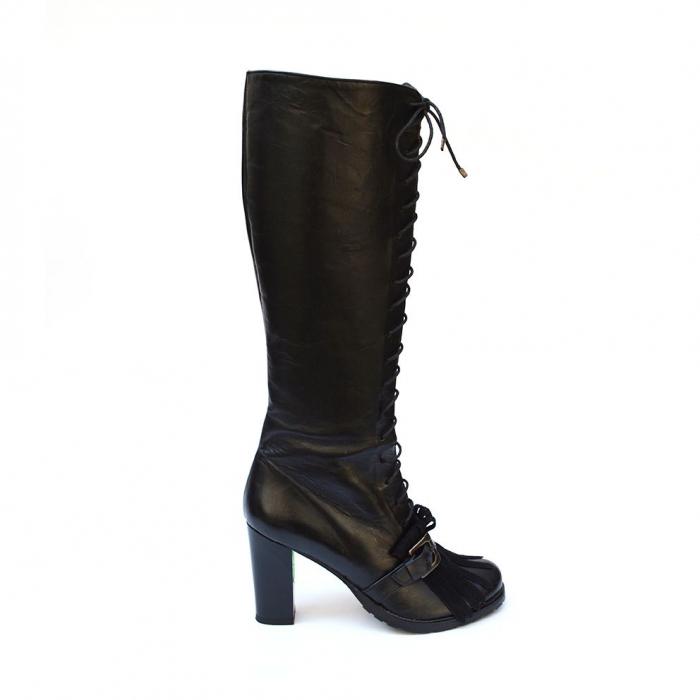 Cizme negre lungi cu siret accesorizate cu franjuri si catarama Ella 0
