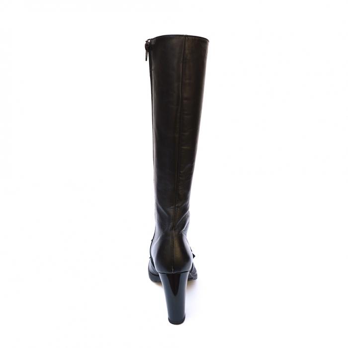 Cizme negre lungi cu siret accesorizate cu franjuri si catarama Ella 2