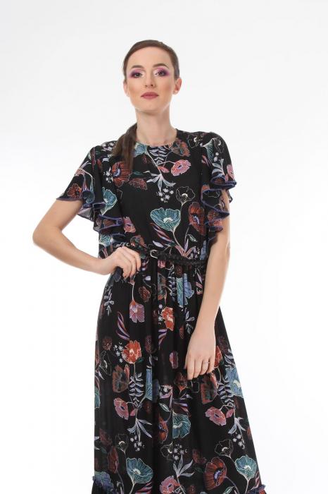 Rochie lunga boho chic cu imprimeu floral 2