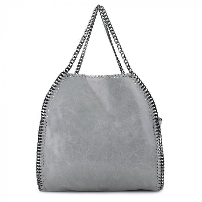 Geanta casual din piele naturala Grey Chain 0