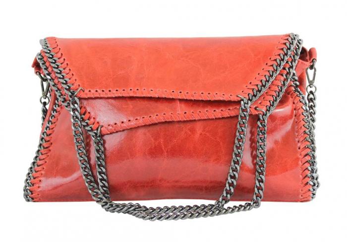 Geanta casual din piele naturala Red Chain
