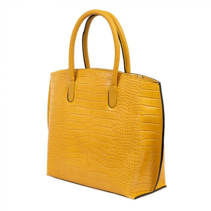 Geanta office din piele naturala croco Yellow Rufa 2