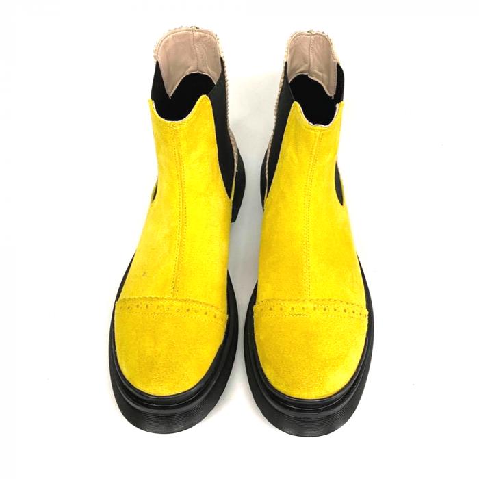 Ghete dama din piele intoarsa Yellow Fabiola 2