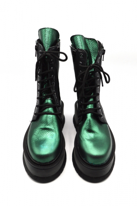 Ghete din piele naturala cu platforma Metal Green