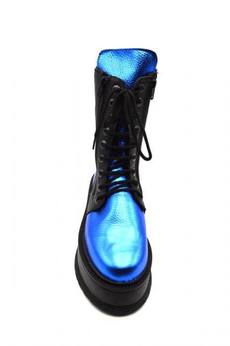 Ghete din piele naturala cu platforma Metal Blue, 39 3