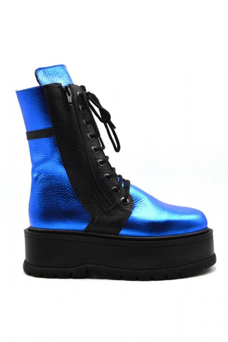 Ghete din piele naturala cu platforma Metal Blue, 39 1
