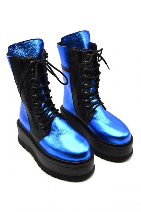 Ghete din piele naturala cu platforma Metal Blue, 39 2