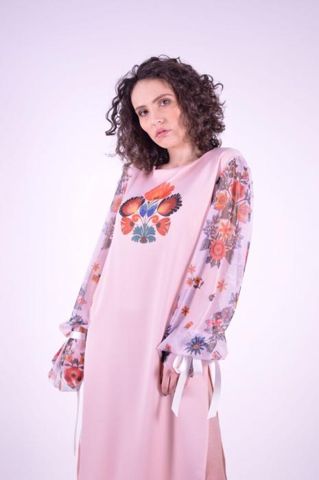 Rochie roz cu imprimeu Folklore si maneci lungi 4