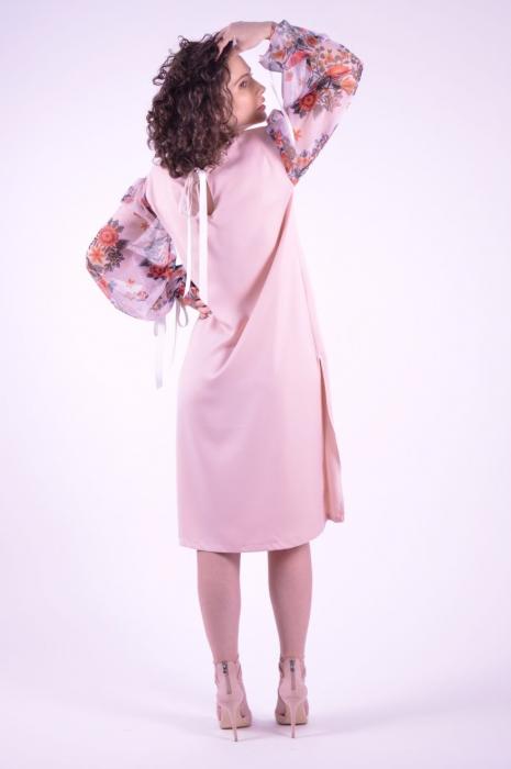 Rochie roz cu imprimeu Folklore si maneci lungi 3