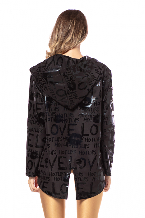 Jacheta impermeabila din fas metalizat negru [1]