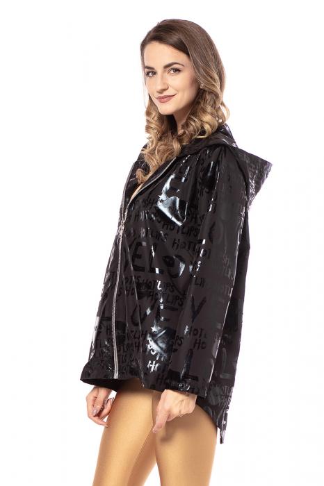 Jacheta impermeabila din fas metalizat negru [3]