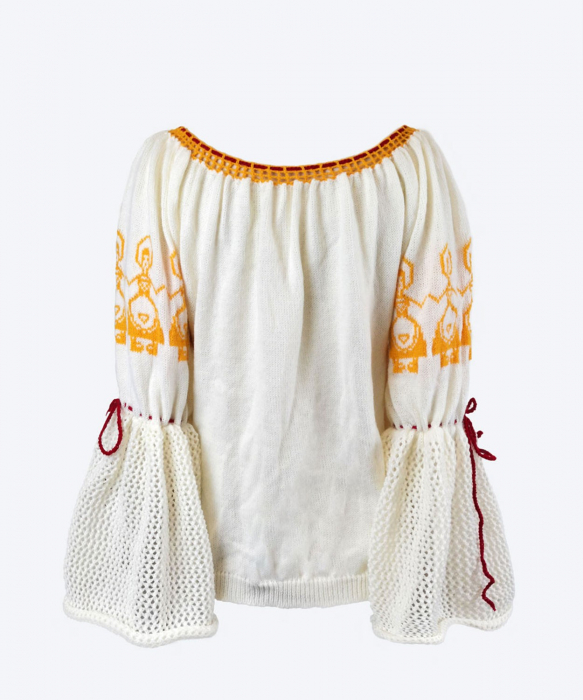 IE tricotata cu model galben de sarbatoare 1