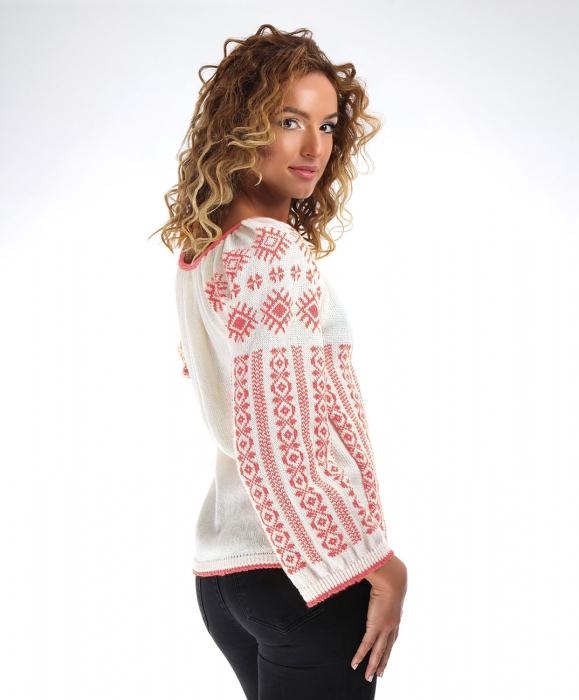IE tricotata cu model traditional roz Onibon 1