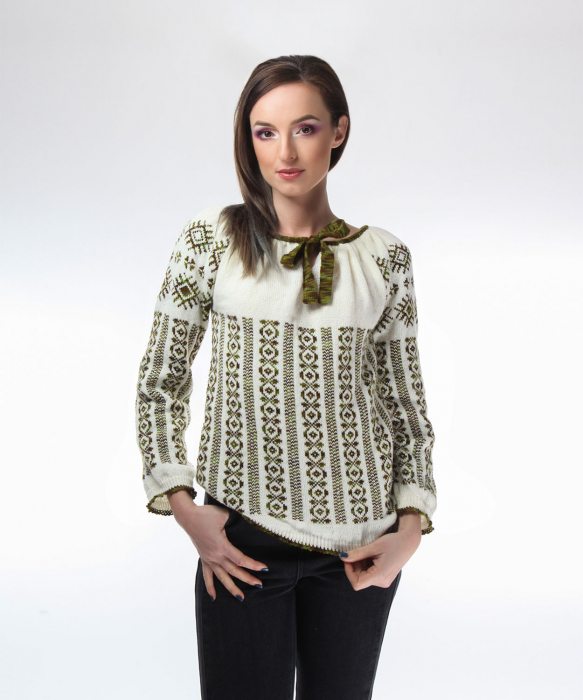 IE tricotata cu model traditional verde degrade Onibon 0