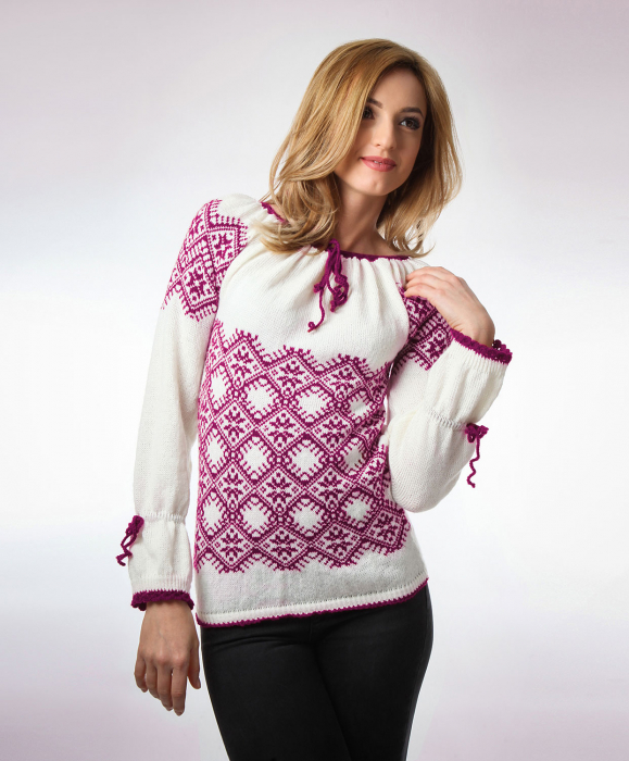IE tricotata cu model traditional rosu violet Onibon 1