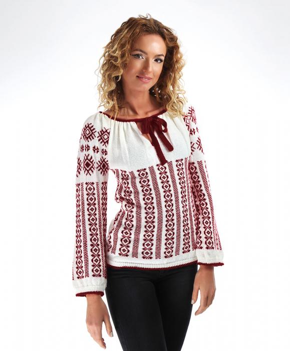 IE tricotata cu model traditional grena Onibon 0