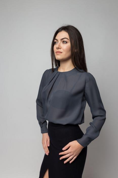 Bluza office vaporoasa cu maneci lungi gri 1