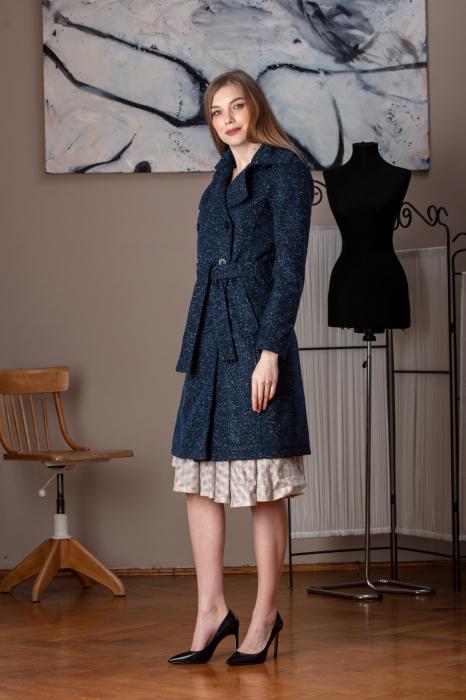 Trench dama din lana pipit bleumarin Veronas 1