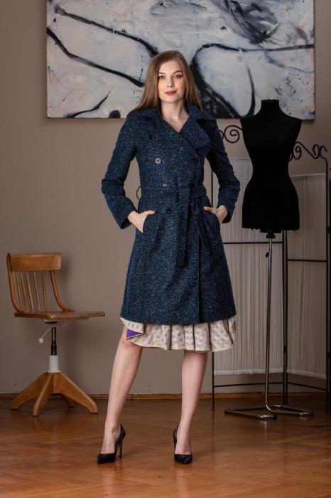 Trench dama din lana pipit bleumarin Veronas 0