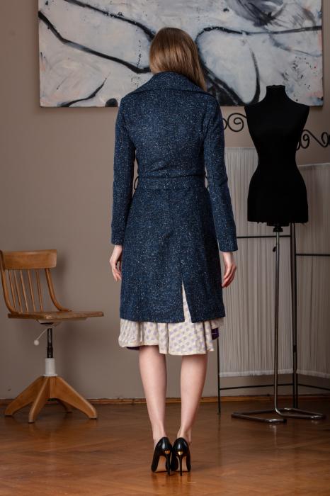 Trench dama din lana pipit bleumarin Veronas 3