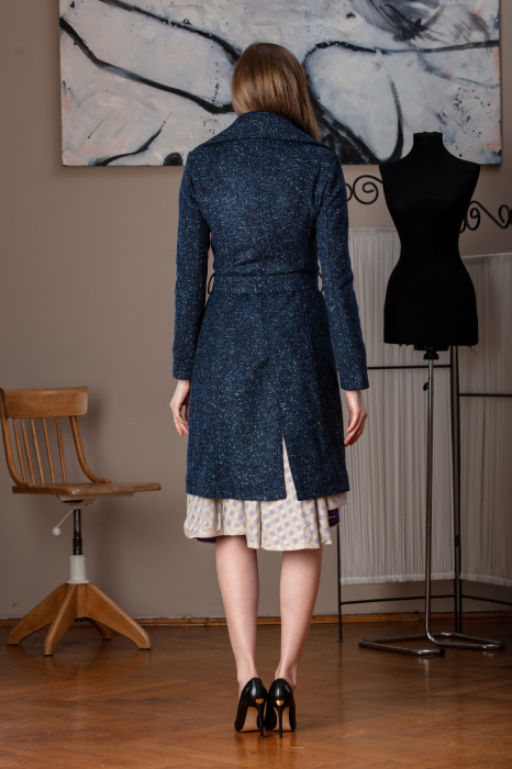 Trench dama din lana pipit bleumarin Veronas, 34 3