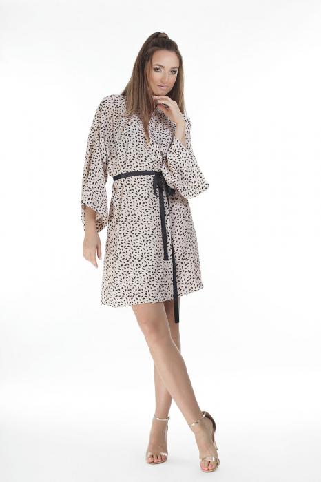 Kimono dama din vascoza cu imprimeu cu motive geometrice [0]