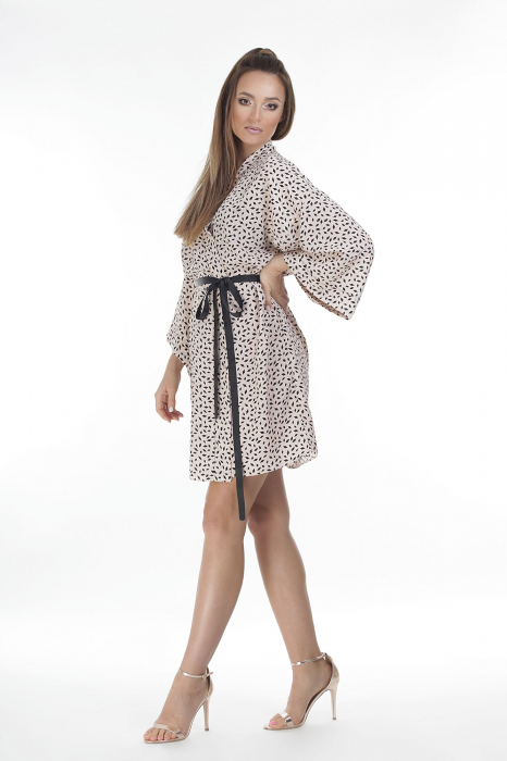 Kimono dama din vascoza cu imprimeu cu motive geometrice [2]