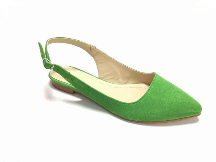 Balerini decupati din piele Lia Velvet Green, 37 0