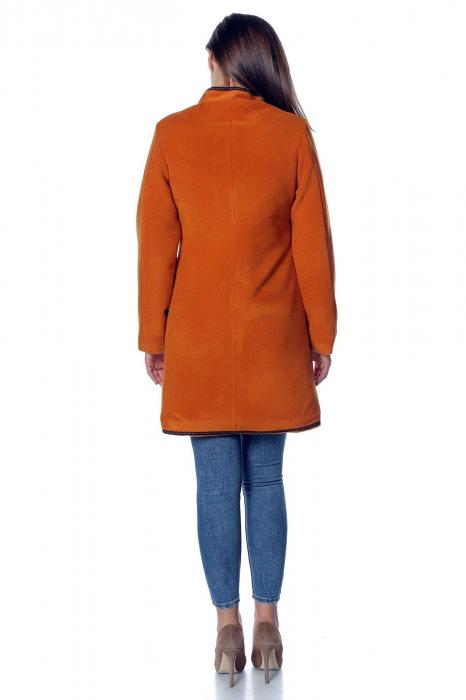 Palton caramiziu dama din stofa cu broderie PF40 2