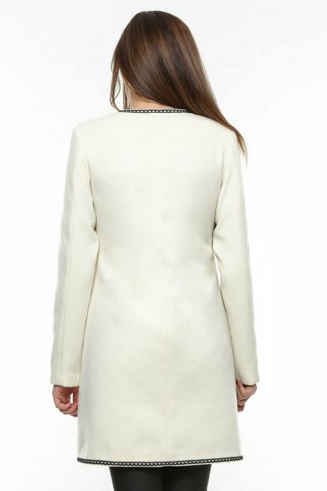 Palton dama alb stofa brodata PF19, M 1