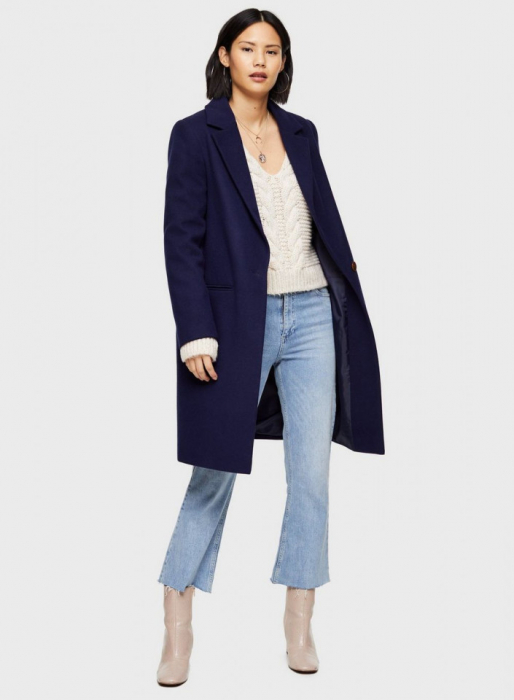 Palton elegant din stofa albastru cu buzunare 0