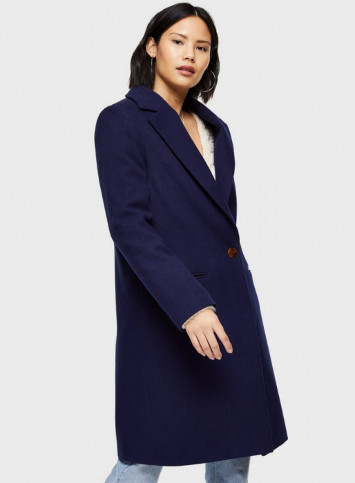 Palton elegant din stofa albastru cu buzunare 2