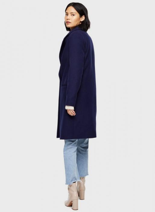Palton elegant din stofa albastru cu buzunare 1