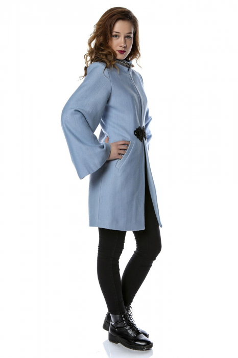 Palton dama din stofa bleu cu maneci clopot PF26 1