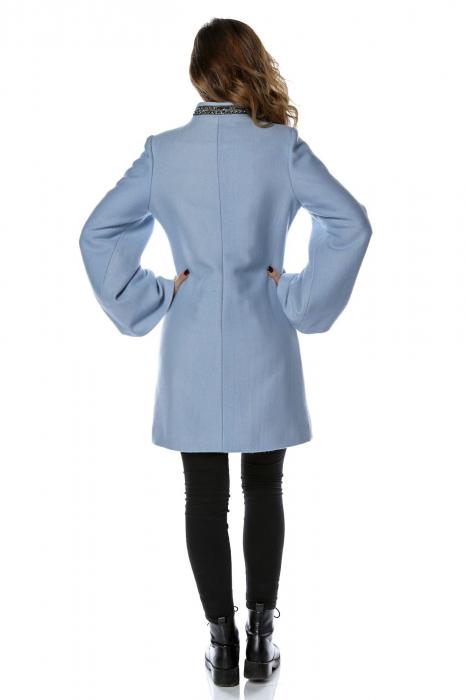 Palton dama din stofa bleu cu maneci clopot PF26 2