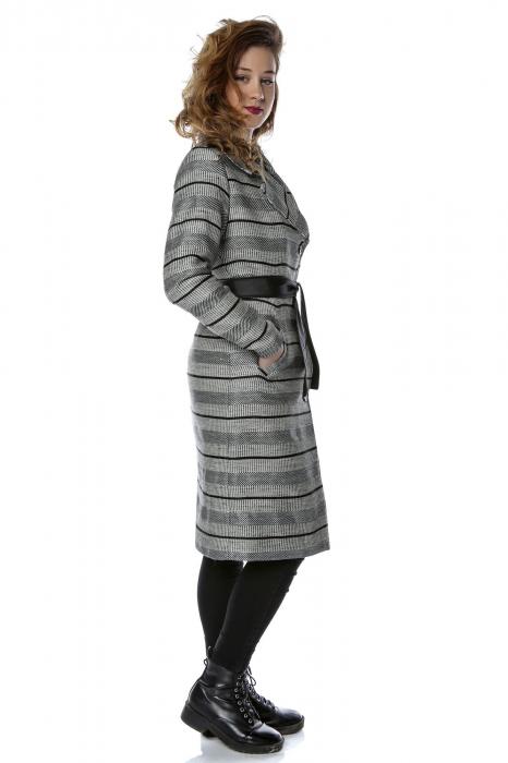 Palton dama din stofa cu dungi orizontale si cordon din piele ecologica PF27 1