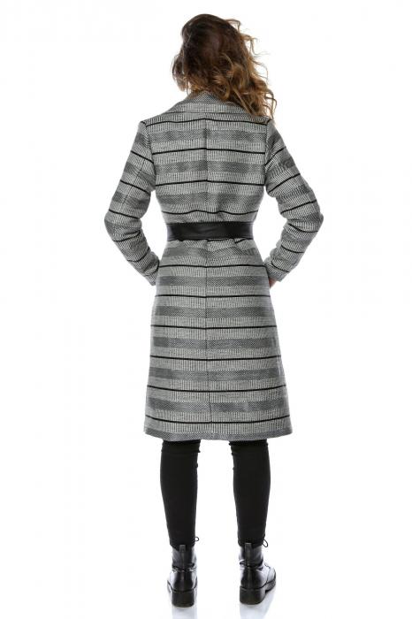 Palton dama din stofa cu dungi orizontale si cordon din piele ecologica PF27 2