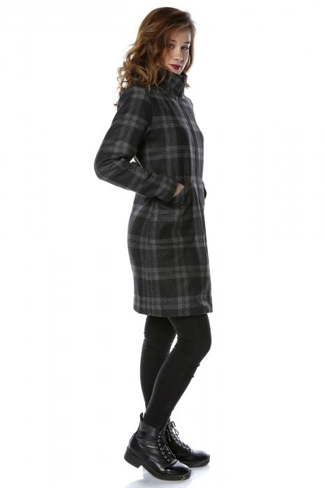 Palton dama din stofa in carouri gri PF22 2