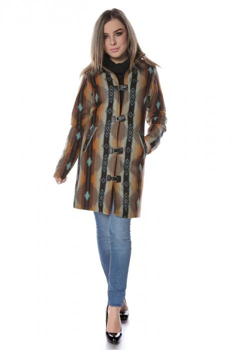 Palton dama din stofa maro multicolor PF45 0