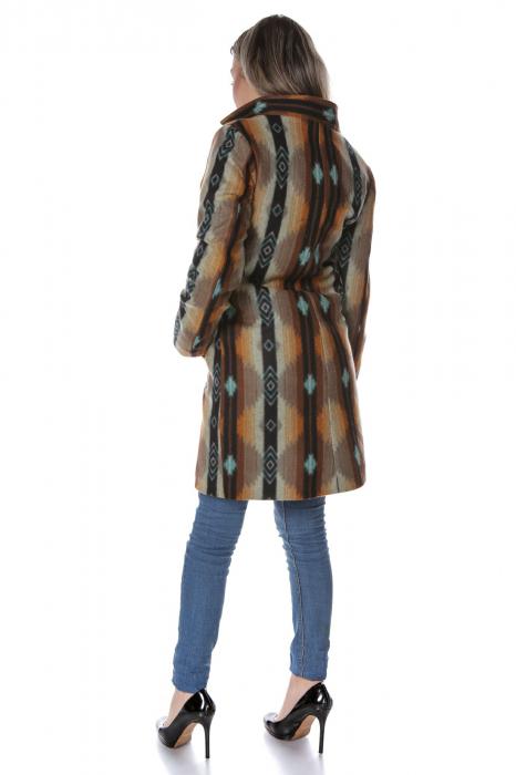Palton dama din stofa maro multicolor PF45 2