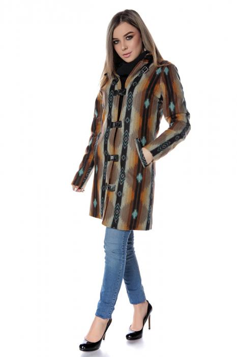 Palton dama din stofa maro multicolor PF45 1