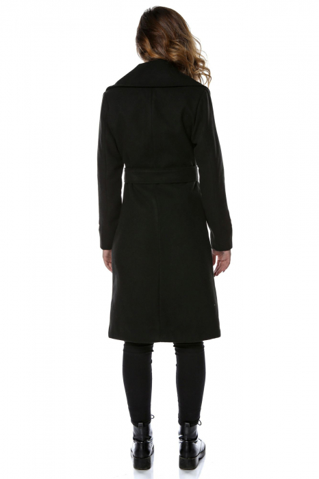 Palton dama din stofa neagra si flori aplicate PF23 2