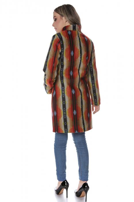 Palton dama din stofa portocaliu multicolor PF44 3