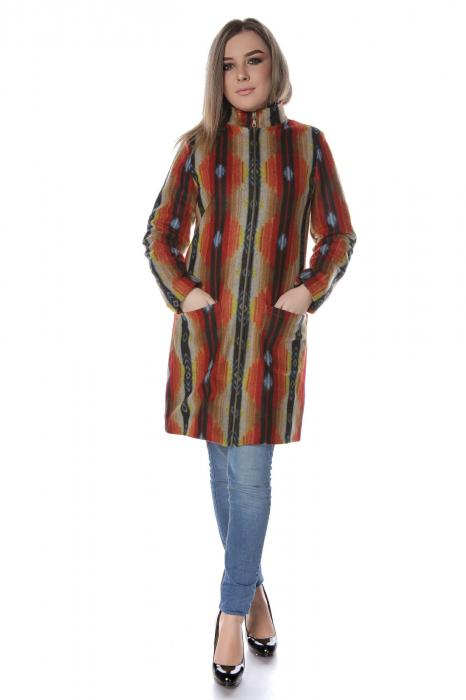 Palton dama din stofa portocaliu multicolor PF44 0