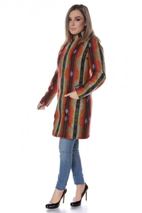 Palton dama din stofa portocaliu multicolor PF44 1