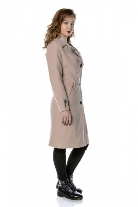 Palton dama din stofa roz pudra cu broderie PF28, M 1
