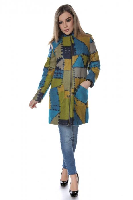 Palton dama din stofa verde multicolor PF47 0